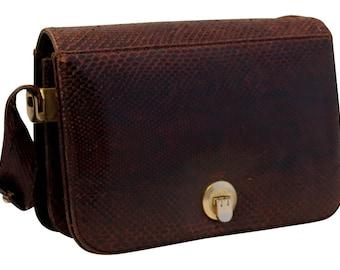 Vintage, Brown Snakeskin Leather Shoulder Bag, Handbag
