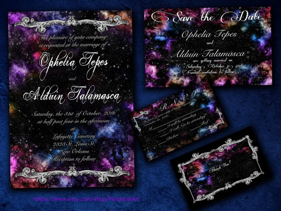 Galaxy nebula space themed wedding invitation save by for Space themed stationery