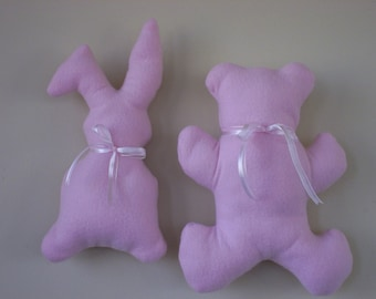 Baby's First Cuddly. Beddie Bye Bunny or Nitey Nite Bear in soft fleece . Choice of 4 pastel colors