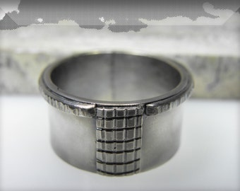 FREE SHIPPING, oxidized wedding band, unisex sterling silver ring, men ring, handmade, texture jewelry, contemporary