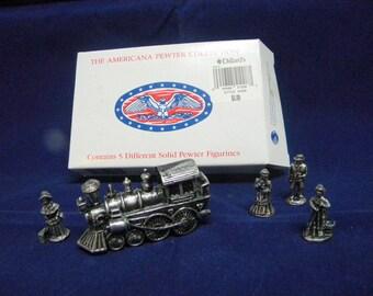 Americana Pewter figurines vintage 1993 Steam locomotive and figurines set in box
