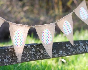 Polka Dot Burlap Easter Egg Banner