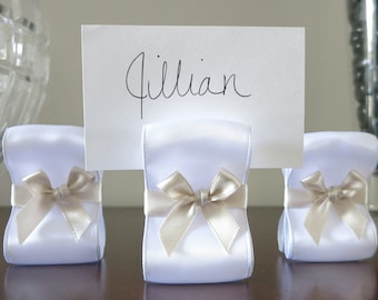 Wedding Place Card Holders - One Hundred (100) with White & Champagne Satin Ribbon  - Customize Your Colors