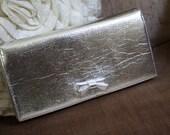 Silver Lame Purse Clutch Metallic Foil Bow 1960s