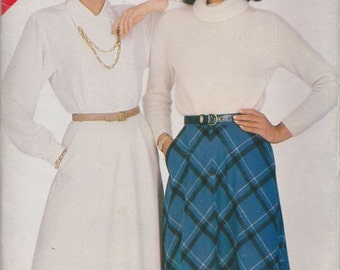 See & Sew 5440, Size 14-16-18. Misses' Skirt Pattern, UNCUT,  Plus Size, Vintage 1985, Factory Folds, Retro, Slightly Flared, Easy Skirt