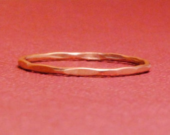 Thin Rose Gold Ring/Size 3.75/Rose Gold Ring/Thin Gold Band/Tiny Gold Ring/Pink Gold Ring/Custom Teeny Slightly Beaten Ring*Rose Gold Filled