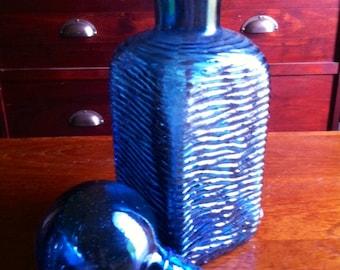 Fabulous man cave 60s blue glass decanter .