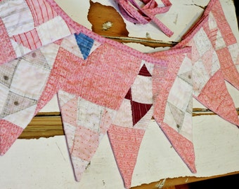 Pink Patchwork Bunting, Vintage Cottage Chic Feedsack Quilt Garland Pennant Flag Banner Nursery Party Baby Girl Gender Reveal itsyourcountry