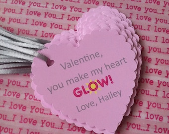 Valentine's Day Party Glow Favor Tags Instant Download