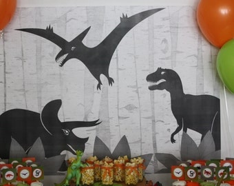 Dino Birthday Party Backdrop Printable INSTANT DOWNLOAD