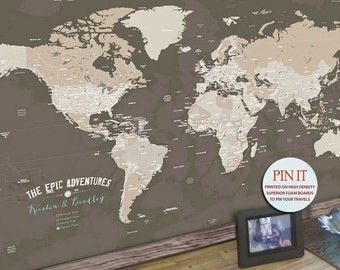 Push Pin Travel map, 24X36 Inches, Sepia, Vacation Art, Keepsake gift, Push Pin Travel, Gift for Dads