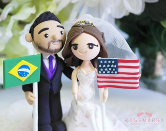 Custom Cake Topper- International couple theme