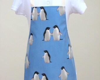 Toddler Oilcloth Apron -Penguins in Love, Childrens Apron, PVC Apron, Waterproof Apron