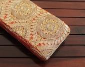 1 Yard Orange Rust Embroidered Trim on Golden Zari Fabric-Silk Sari Border-Golden Floral Design-Crazy Quilt Fabric Trim Ribbon By The Yard