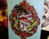 Dapper Dinosaur Blue– A6 Blank Greeting Card – Tattoo Illustration