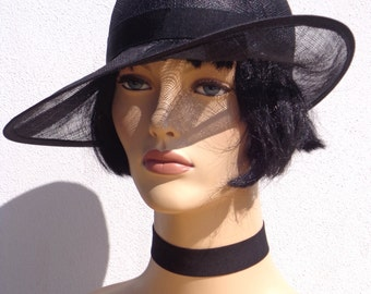 Wedding flapper hat, black sinamay cocktail cloche, sun hat, retro hat, 1920s inspired hat, garden party hat, bridesmaid hat, great Gatsby