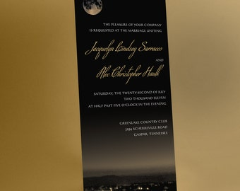 Wedding Invitations Suite, Full Moon over Peaceful Oasis. Modern and Artistic, Black and Gold, or Your Chosen Color Accent