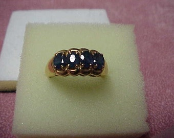 Vintage Blue Sapphire Ring, 2.00 Carat, 3.7 Gram, 6mm x 4mm, 14K Yellow Gold, Size 6.5