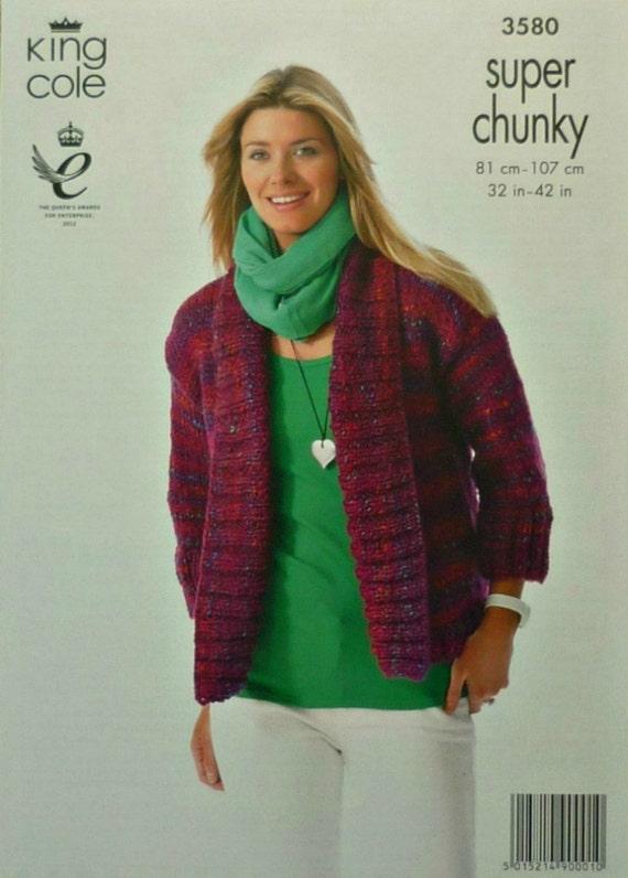 Womens Knitting Pattern K3580 Ladies Easy Knit Long 3/4 Sleeve Edge to Edge J...