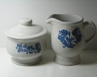 Cream and Sugar Blue Pfaltzgraff Yorktowne Pattern Creamer and Sugar Bowl Vintage Mint!
