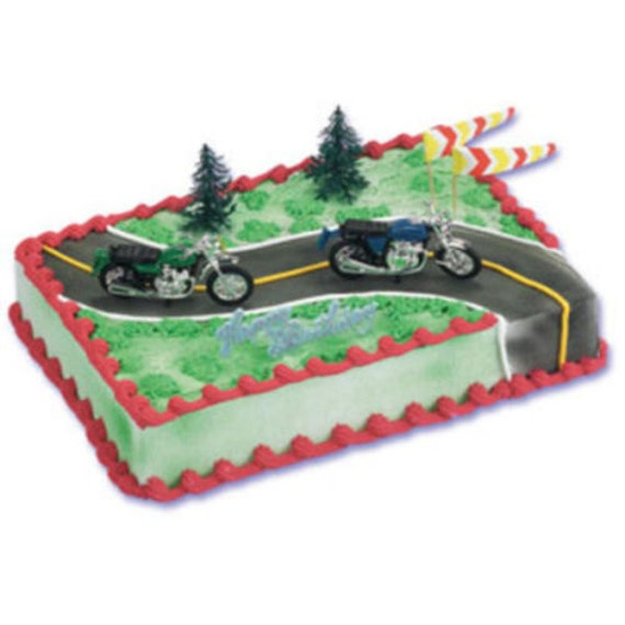 Birthday Cake Ideas Motorcycle : Items similar to Motorcycle Cake Decorating Kit Birthday ...
