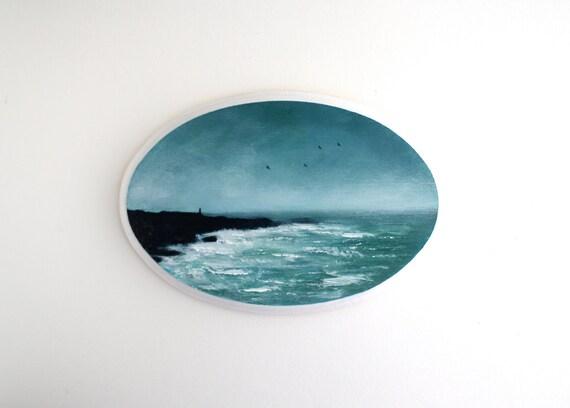 Maine Coast Oval Oil Painting