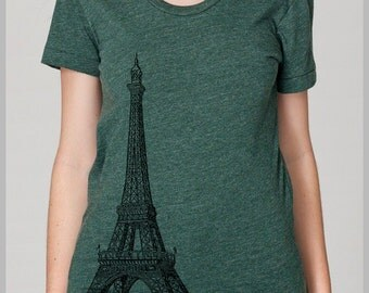 Women's Paris T Shirt Eiffel Tower Print France American Apparel S, M, L, XL 8 COLORS Womens Fashion Travel Clothing Top Shirt
