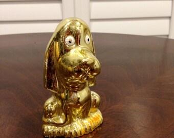 Beagle dog gold glaze figurine  japan stamped bottom