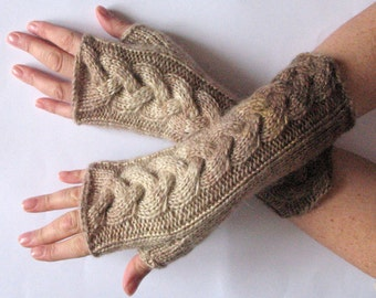 Fingerless Gloves Cream Brown Beige Sand wrist warmers