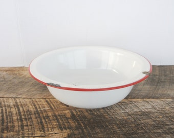 Vintage White Enamelware Bowl with Red Trim
