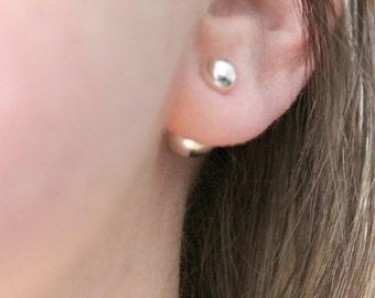 Sterling Silver Front Back Ball Stud Earrings, Ear Jacket, Wear Two Ways - Meg Earring