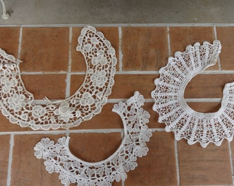 lot of 3, vintage women's lace collars crochet early victorian edwardian textiles