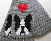Boston Terrier Scarf. Gray crochet scarf with red hearts and Boston dogs.