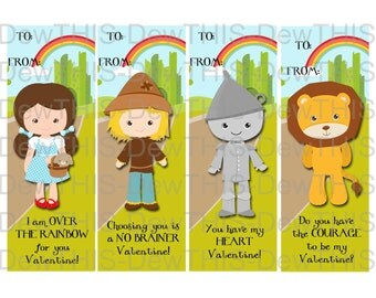 Wizard of Oz- Class Valentine Bookmarks-INSTANT DOWNLOAD