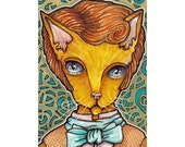 Fancy Cat Original ACEO, pen and ink