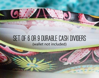 Tabbed cash dividers for envelope system | blank wallet dividers, set of 6, set of 9, set of 12