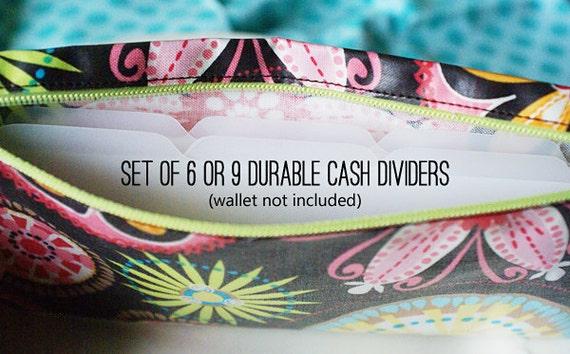 Tabbed cash dividers for envelope system   blank wallet dividers, set of 6, set of 9, set of 12