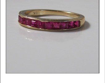 Estate 18k Princess Cut Very Fine AAA Ruby Band Ring