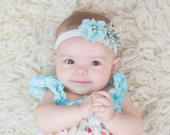 Aqua Baby Headband - Light Aqua  Flower and Floral Rhinestone flower - Photo Prop - Newborn - Off White - Flower Girl