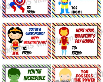 Super Hero Valentines Day Cards Print Your Own