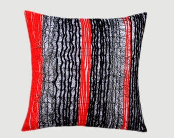 "Decorative Pillow Case, Black, White, Red, Grey colors, Yarn embellishment Throw pillow case, fits 18""x18"" insert, Toss pillow case"