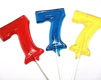 12 LARGE  NUMBER LOLLIPOPS -  Hard Candy - Numbers 1 through 8