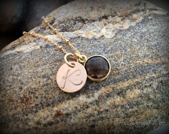 Trendy Gold Hand Stamped Initial Jewelry - Custom Gold Gemstone Jewelry - Personalized Gold Jewelry - Gemstone Necklace - The Charmed Wife