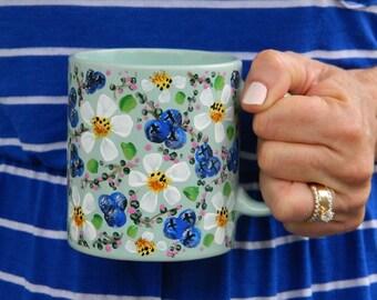 OOAK Daisies and Berries Hand Painted Vintage Mug Cup Sea Foam Green