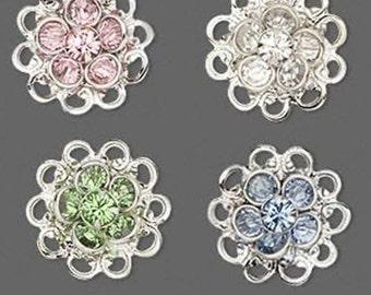 2 pcs Swarovski Crystal Rhinestone Flowers 17mm Embellishments Sew ons