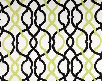 "Two 96"" x 50"" Custom Curtain Panels - Geometric  Trellis Black/Kiwi"