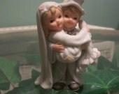 Vintage 80's Bride And Groom Cake Topper