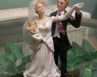 Vintage 80's Bride And Groom Cake Topper
