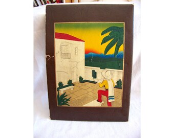 Tooled leather art Mexican hand colored album cover musician serenade 1930s 1940s