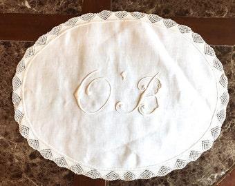 OB embroidered doily whitework trapunto dresser scarf anti-macassars OB nurse doctor obstetricial obstetrical nurse